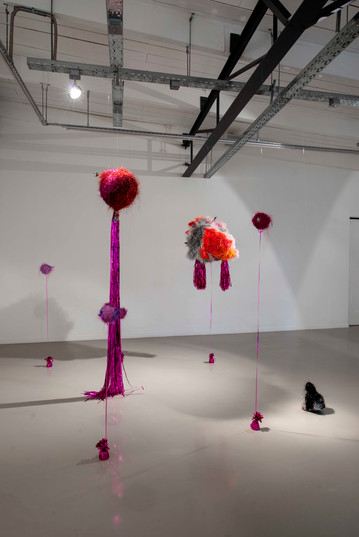 Galia Gluckman | Soirée Series (Robert, Alberto and friends) | 2020 | Angel Hair, Paper, Acrylic, Balsa Wood, String, Mirror, Metal Bells and Balls Springs, Party Hats, Foil and Bonding Tape on Polystyrene | Dimensions Variable