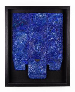 Galia Gluckman | arrangement | 2019 | Construction with Canvas Textured Paper, Balsa Wood, Acrylic and Bonding Tape on Heavy Duty Deconstructed Box | 45 x 34 cm