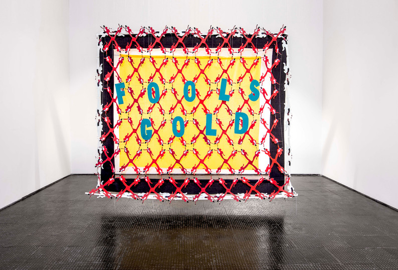 Lawrence Lemaoana | Fool's Gold | 2020 | Poly Cotton, Safely Pins, Rod, Thread and Vilene | 250 x 304 x 204 cm | Copyright the artist, Courtesy AFRONOVA GALLERY