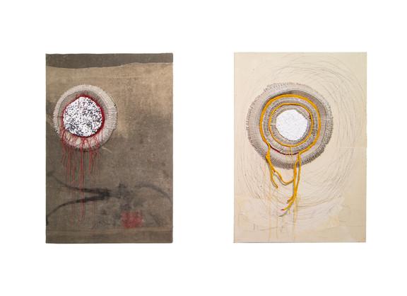 Wallen Mapondera   Mbeu (the seed) II & I   2020   Egg Crates, Cotton Buds, Wax thread, Military Tent on Board   122 x 84 x 9 cm (each)