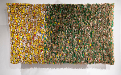Wallen Mapondera | Beautiful Scarification, Or Is It? | 2017 | Cardboard Stitched on Canvas | 185 x 285 cm