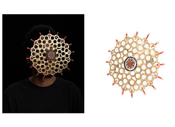 Cyrus Kabiru | Macho Nne The Honey Comb & The Honey Comb | 2019 | C-Type Print on Diasec Mount & Mixed Media | 118.5 x 98 cm & 25 x 25 x 24 cm | Edition of 1 + 2 AP