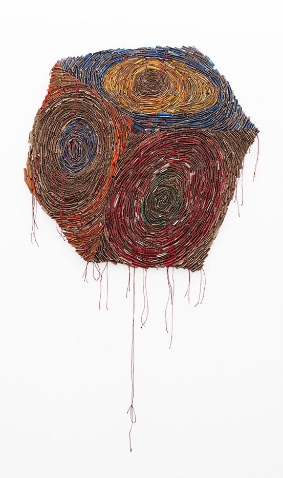 Wallen Mapondera | Target Box | 2019 | Cardboard, Waxed Thread and Wax Paper on Canvas | 86 x 77 cm