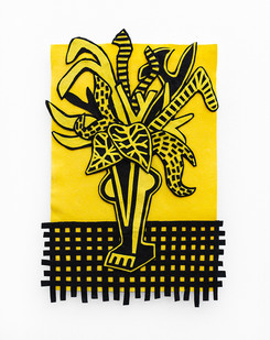 Jody Paulsen | Black and Yellow | 2020 | Felt Collage | 75 x 45 cm
