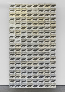 Fiona Pole | Wolves at The Door | 2014 | Etching on a Selection of Papers | 332.5 x 118 cm