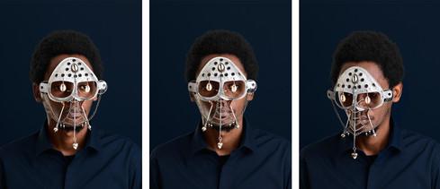 Cyrus Kabiru | Mbili Uso Macho Nne: Damien Hirst I - III (Triptych) | 2015 | Pigment Ink on HP Premium Satin Photographic Paper | 120 x 90 cm Each | Edition of 5 + 2 AP