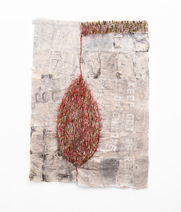 Wallen Mapondera   Keep Out of Reach of Children   2020   Cardboard, Waxed Thread and Wax Paper on Canvas   205 x 147 x 3 cm