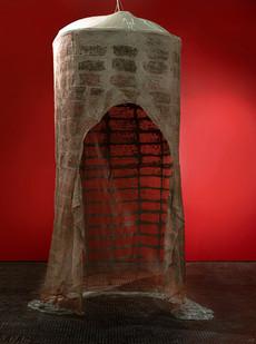 Pyda Nyariri   Specimen 1: Cocoon. A message from within   2021   Clay Slip, Cotton Gauze, Wood, Hardware   310 x 110 cm