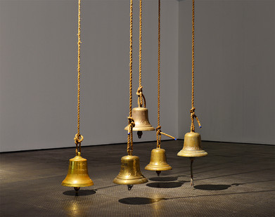 Giovanni Ozzola | Dust on Memories | 2016 | Engraved Brass Bells | Dimensions Variable