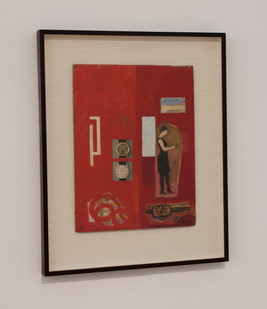 Simon Stone   Red with Two Watches   2014   Oil on Cardboard   41 x 32 cm