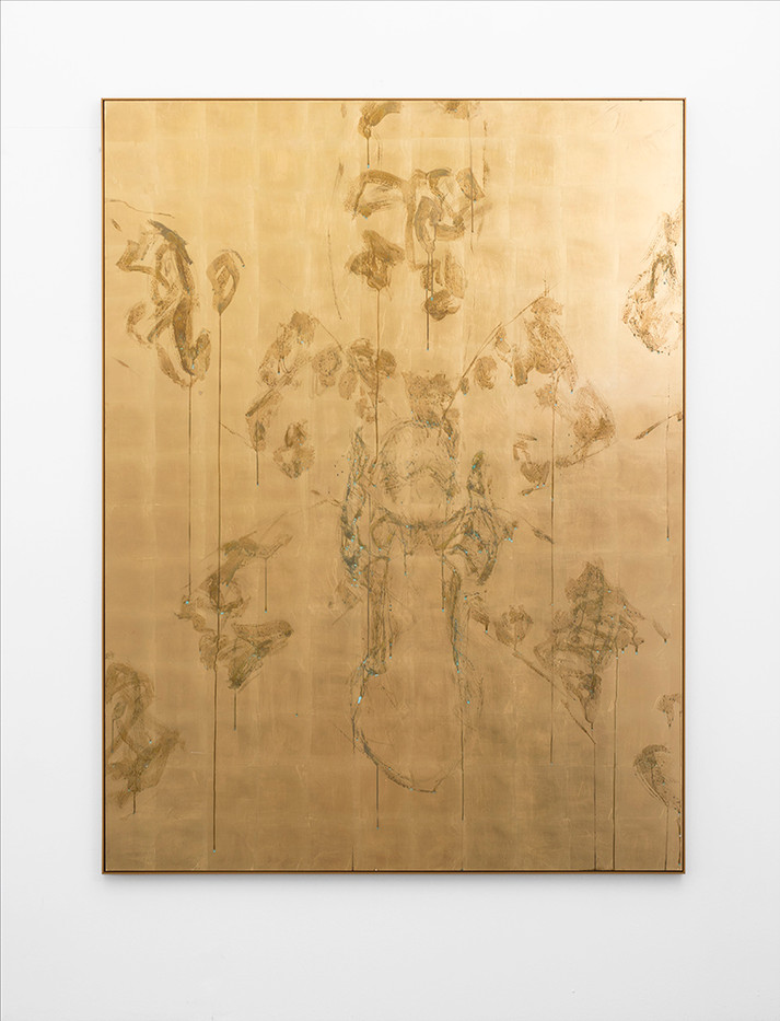 Pierre Vermeulen | Untitled (Orchid in Study Sweat V) | 2017 | Sweat and Gold Leaf Imitate on Aluminium | 200 x 152 cm