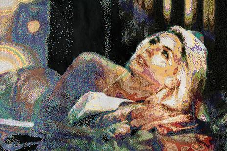Frances Goodman | Wonderlust | 2018 | Hand-Stitched Sequins on Linen | 99 x 154 cm