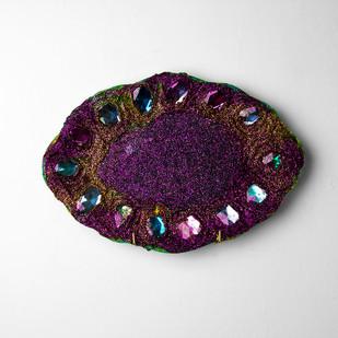 Georgina Gratrix | Purple & Gold Bedazzle Plate Big | Oil and Glitter on Ceramic Plate | 22 x 31.5 cm