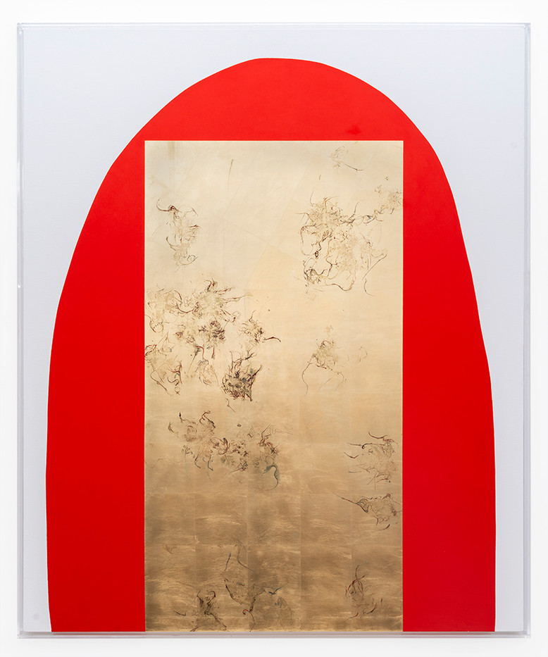 Pierre Vermeulen | Hair orchid sweat print, vermilion and white | 2019 | Sweat, Gold Leaf Imitate, Shellac and Acrylic on Belgian Linen | 160.5 x 133.5 x 4 cm