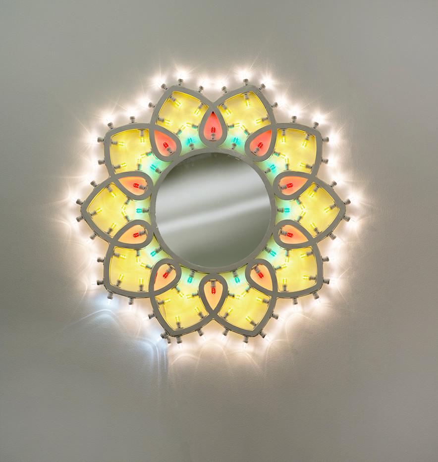 Marinella Senatore   Illuminaire   2018   Wooden Structure, LED Bulbs and Mirror   120 Diameter