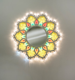 Marinella Senatore | Illuminaire | 2018 | Wooden Structure, LED Bulbs and Mirror | 120 Diameter