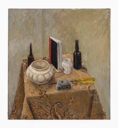 Simon Stone | Still Life with Meteorite and Screwdriver | 2020 | Oil on Board | 58.5 x 54 cm