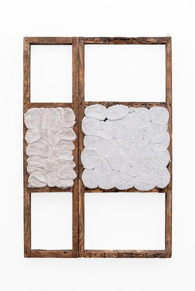 Wallen Mapondera | Tuck Shop 1 | 2019 | Toilet Paper in Wooden Frame | 130 x 87.5 x 6 cm