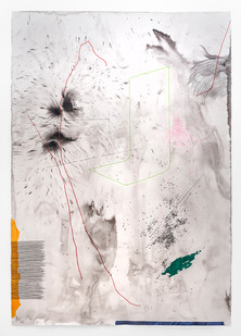 Mongezi Ncaphayi | Past in the present | 2019 | Indian Ink and Watercolour on Cotton Paper | 198.5 x 139.5 cm