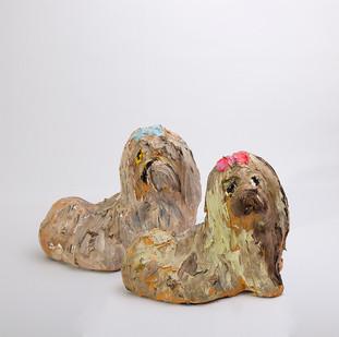 Georgina Gratrix | The Pekingese Pair (Bob and Sue) | 2016 | Oil on Ceramic | 14 cm Each