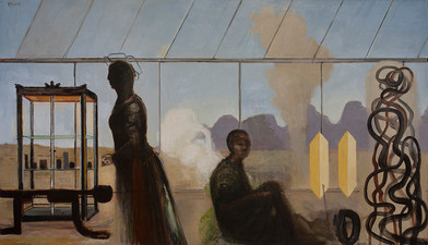 Simon Stone   Dust in the Glasshouse   2014   Oil on Canvas   106 x 183.5 cm