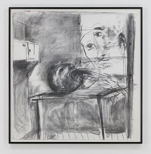 Albert Adams | Prisoner (Incarceration Series) | 1999 | Charcoal on Paper | 153 x 149.5 cm