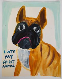 Georgina Gratrix | I Ate My Spirit Animal | 2015 | Oil on Paper | 65 x 50 cm