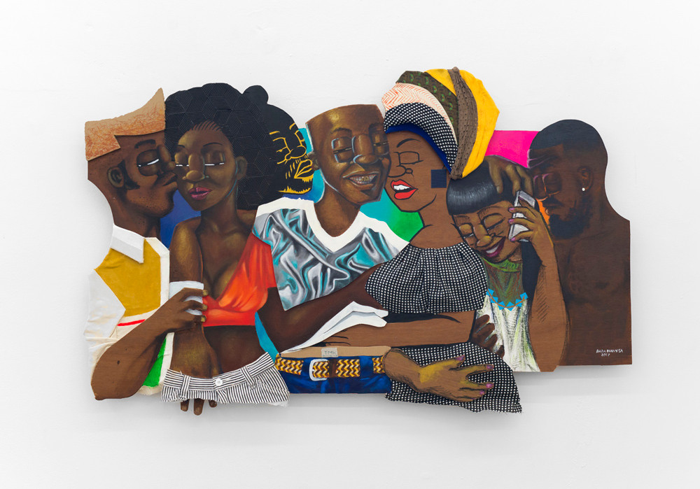 Dada Khanyisa | INkosi Ibenathi in these Polyamorous Streets and Between Sheets | 2017 | Acrylic, Fabric and Oil Pastle on Plywood | 80 x 135 cm
