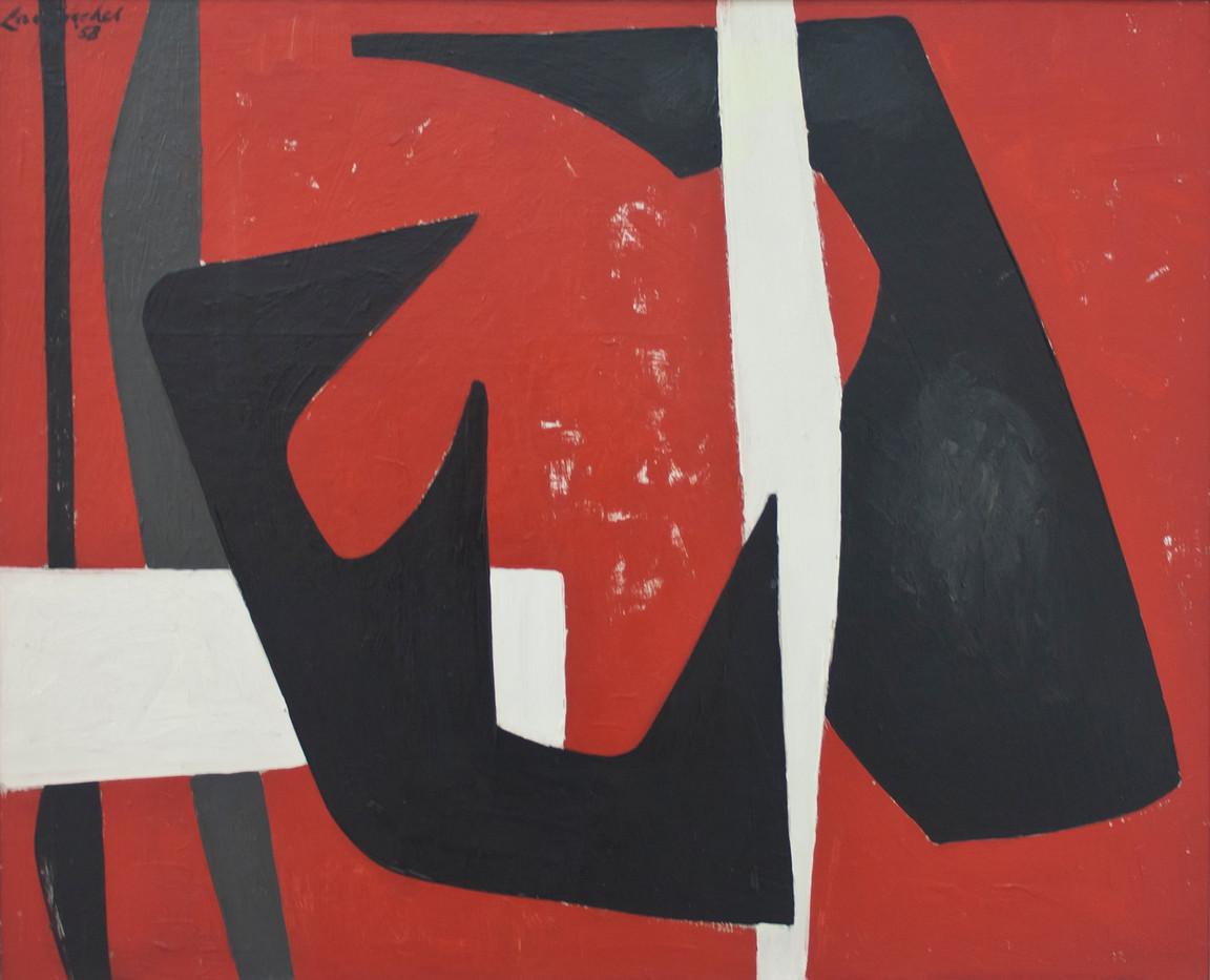 Erik Laubscher | Red Abstract | 1958 | Oil on Board | 52 x 62 cm