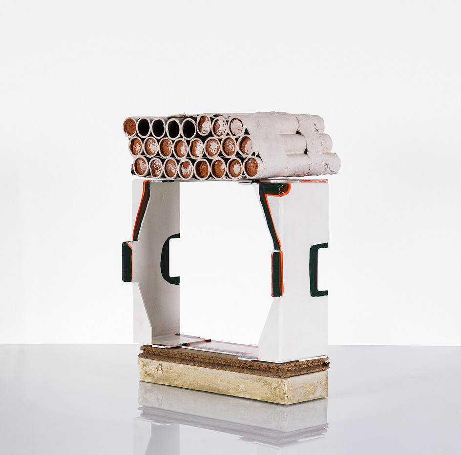 Helen A Pritchard | Free Form | 2014 | Enamel, Cement, Gesso, Wood, Cardboard, Clay, Steel | 45 x 31 x 13 cm
