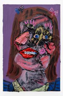 Georgina Gratrix | Shiela with Bows and Lashes | 2019 | Oil on Canvas | 60 x 40.5 cm