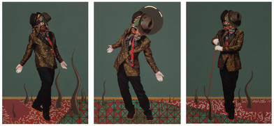 Simphiwe Ndzube | Becoming I, II & III | 2014 | Acrylic on Perspex Print | 84 x 59.5 cm Each (Triptych)