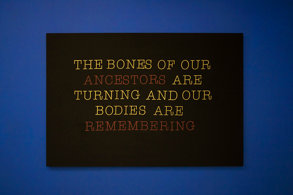 Lhola Amira | The bones of our ancestors are turning and our bodies are remembering | 2019 | Screenprint on Cotton Fabric | 135 x 200 cm | Edition of 3 + 2 AP