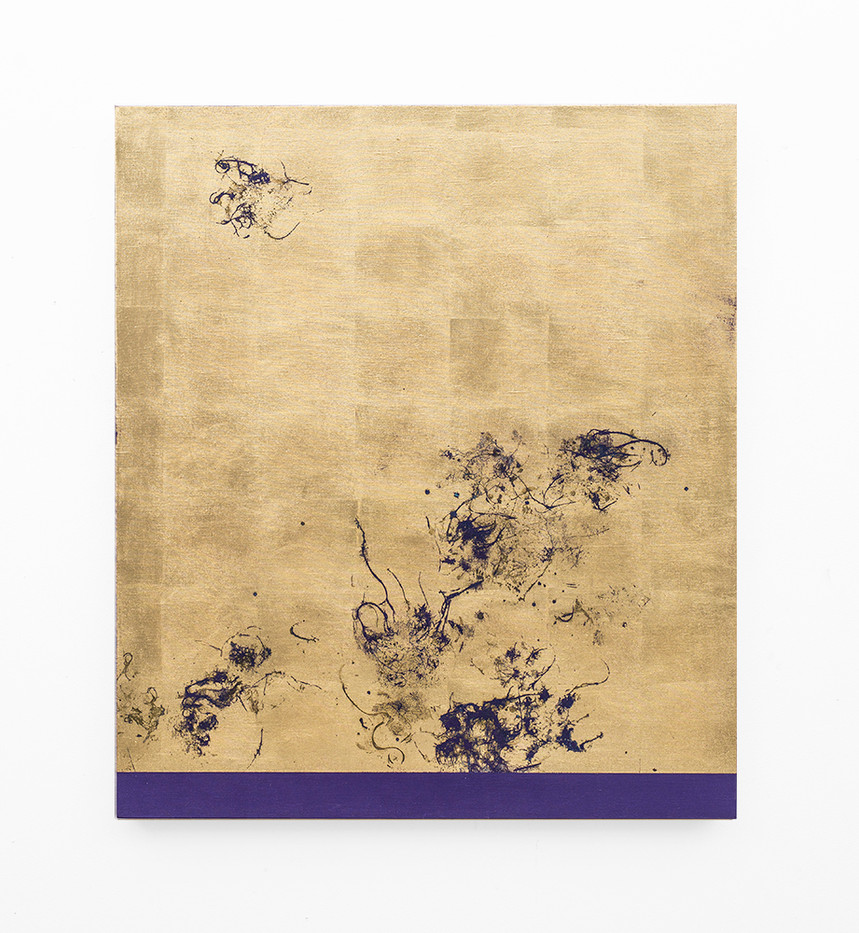 Pierre Vermeulen | Hair orchid sweat print, violet scape | 2018 | Sweat, Gold Leaf Imitate, Shellac and Acrylic on Belgian Linen | 105.5 x 90 cm