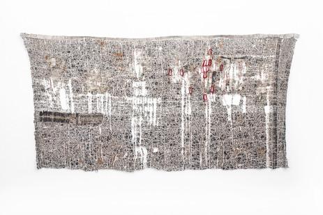 Wallen Mapondera | Mabhindauko | 2018 - 2020 | Textile, Wax Paper, Cardboard and Waxed Thread | 141 x 272 cm