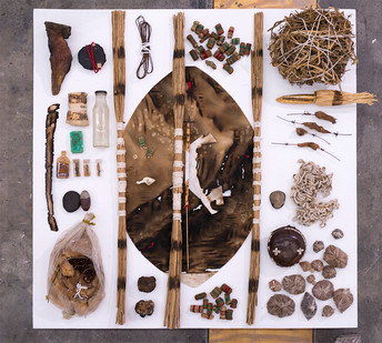 Sandile Zulu | Paraphernalia of the Desert Shaman - Deliverance and Healing | 2017 | Mixed Media, Found Objects | 130 x 130 cm