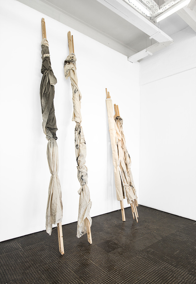 Alexandra Karakashian | Orphans of recent events | 2018 | Wrapped Canvas, Fabric and Wood | Dimensions Variable