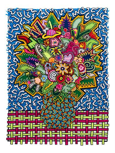 Jody Paulsen   Memphis Bouquet   2019   Felt Collage   140 x 102 cm