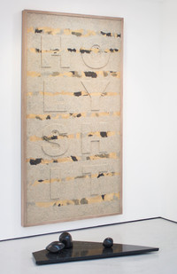 Willem Boshoff   Homage to Kurt Schwitters   2013   Wood and Various Sands   250 x 128.5 cm