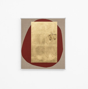 Pierre Vermeulen | Hair orchid sweat print, red form | 2018 | Sweat, Gold Leaf Imitate, Shellac and Acrylic on Belgian Linen | 58 x 50 cm