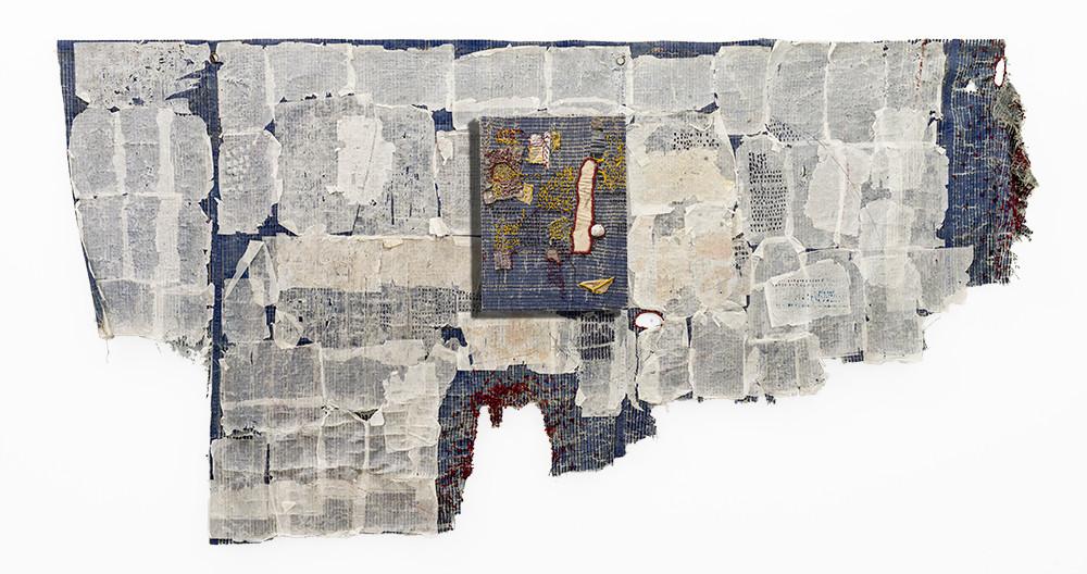 Wallen Mapondera | Pahasha | 2019 | Papier-mâché, Waxed Paper and Thread on Found Tarpaulin Tent | 163 x 337 x 7 cm