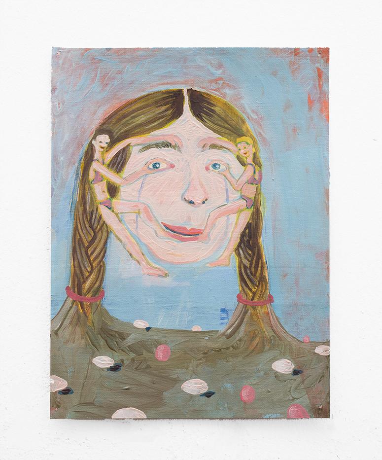 Marlene Steyn   Composing myselves (with egg)   2018   Oil on Canvas   30.5 x 23 cm