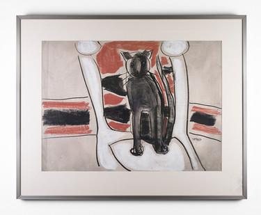 Charles Gassner   Cat   n.d.   Chalk Pastel on Paper  54 x 74 cm