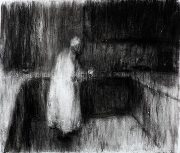 Johann Louw | Figuur in Interieur II | 2014 | Charcoal and White Conté on Paper | 124 x 161 cm
