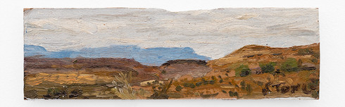 Simon Stone | Days Alone I | 2018 | Oil on Cardboard | 8.5 x 22.5 cm