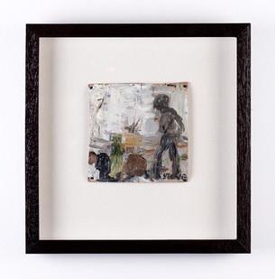 Simon Stone | Man in Rough Landscape | 2017 | Oil on Cardboard | 15 x 15 cm