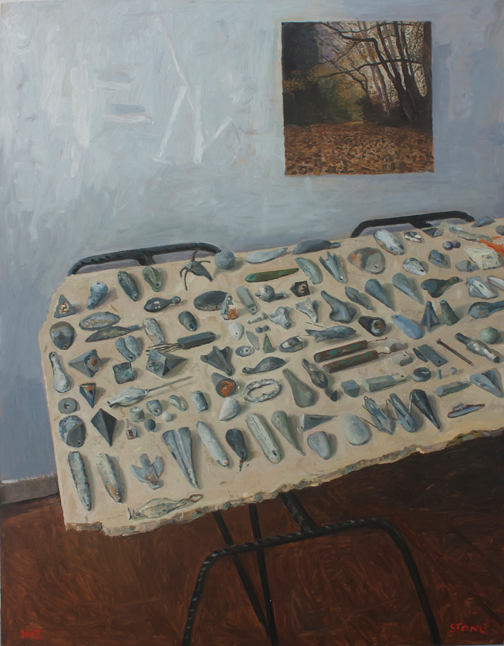 Simon Stone   Still Life with Sinkers   2013   Oil on Board   98.5 x 76.5 cm