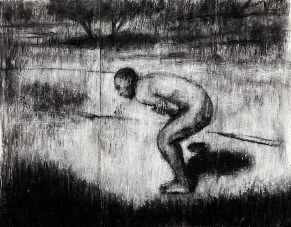 Johann Louw | Op Mooiplaas | 2014 | Charcoal and White Conté on Paper | 244 x 372 cm