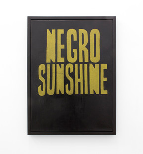 Katlego Tlabela | Negro Sunshine (After Lignon) | 2016 | Gold Pigment and Enamel Screenprint on Canvas | 80 x 60 cm