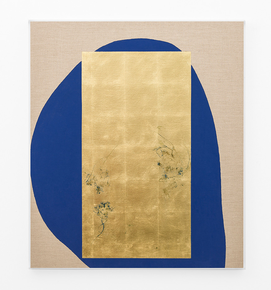 Pierre Vermeulen   Hair orchid sweat print, blue form   2018   Sweat, Gold Leaf Imitate, Shellac and Acrylic on Belgian Linen   104.5 x 93 cm